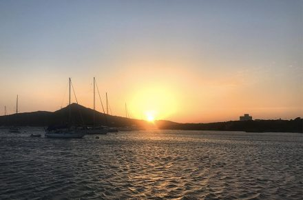 tramonto in rada all'Asinara